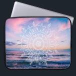 "Ocean Boho Mandala | Laptop Sleeve<br><div class=""desc"">A laptop sleeve featuring a hand-drawn boho mandela over a vibrant blue and pink photograph of the ocean at sunset,  taken on Maui,  Hawaii. Click &quot;Customize it!&quot; to add text if you like.</div>"