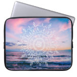 Ocean Boho Mandala | Laptop Sleeve<br><div class='desc'>A laptop sleeve featuring a hand-drawn boho mandela over a vibrant blue and pink photograph of the ocean at sunset,  taken on Maui,  Hawaii. Click &quot;Customize it!&quot; to add text if you like.</div>