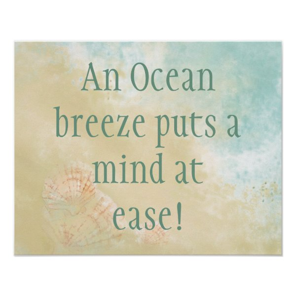 Ocean Breeze Mind at Ease, Fun Beach Quote Poster