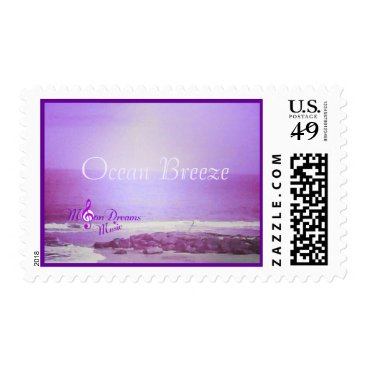 Beach Themed Ocean Breeze Purple Ocean and Sky US Postage Stamp