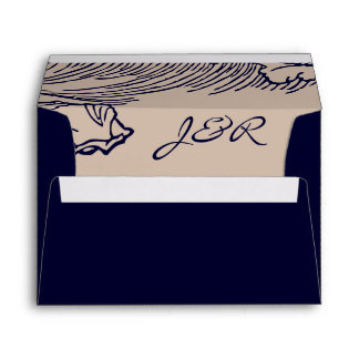 Ocean Breeze | Rustic Beach Lined Blue Envelope