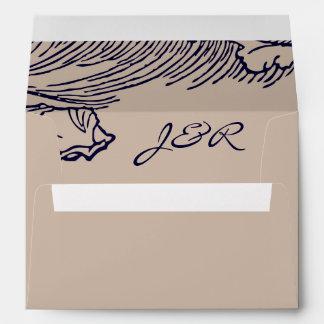 Ocean Breeze | Rustic Beach Lined Envelope