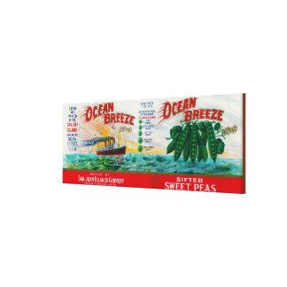 Ocean Breeze Sweet Peas Label Canvas Print