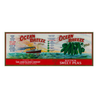 Ocean Breeze Sweet Peas Label Poster