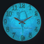 "Ocean Breeze Yoga Yin Yang Tree Large Clock<br><div class=""desc"">A yoga tree of life clock featuring a lady balancing on a yin yang with teal,  green and blue ocean colors.</div>"