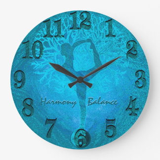 Ocean Breeze Yoga Yin Yang Tree Large Clock