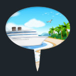 "Ocean Cake Topper<br><div class=""desc"">Illustration of a cruise porting on the shore</div>"
