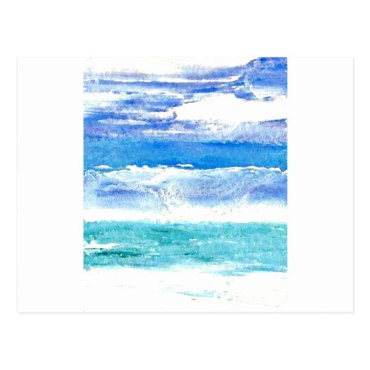 Ocean Calypso - turquoise beach surf painting Postcard