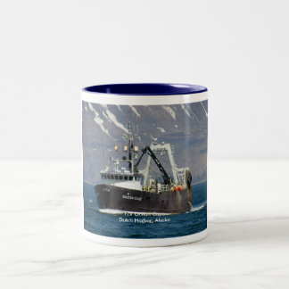 Ocean Cape, Fishing Trawler in Dutch Harbor Two-Tone Coffee Mug