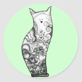Ocean Cat Seafoam Sticker