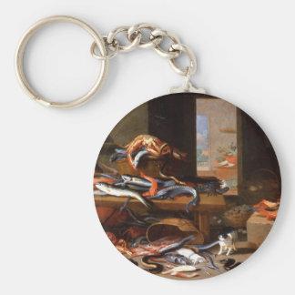 Ocean catches still life - Jan van Kessel Basic Round Button Keychain