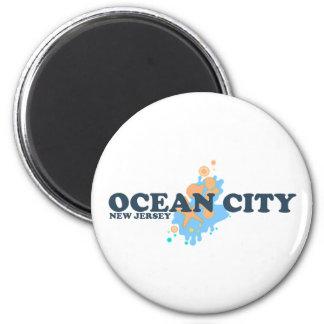 Ocean City. 2 Inch Round Magnet