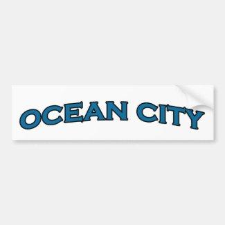 Ocean City Maryland Arched Text Logo Car Bumper Sticker