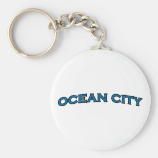 Ocean City Maryland Arched Text Logo Basic Round Button Keychain