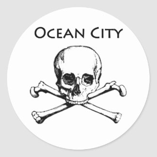 Ocean City Maryland (Jolly Roger) Classic Round Sticker