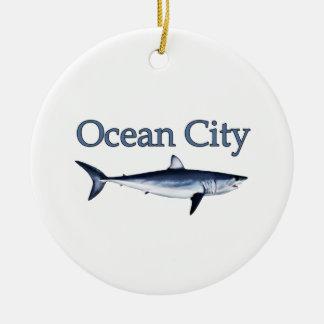 Ocean City Maryland Logo (mako shark) Ceramic Ornament