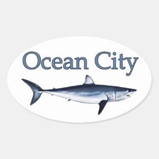 Ocean City Maryland Logo (mako shark) Oval Sticker