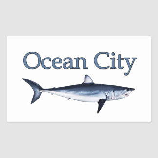 Ocean City Maryland Logo (mako shark) Rectangular Sticker