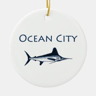 Ocean City Maryland Logo white marlin Ornament