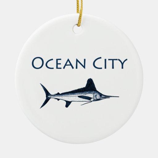 Ocean City Maryland Logo (white marlin) Ornament