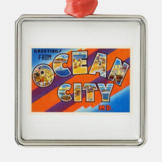 Ocean City Maryland MD Vintage Travel Postcard- Metal Ornament