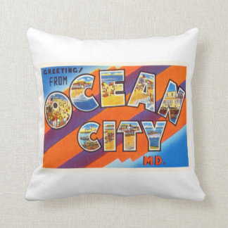 Ocean City Maryland MD Vintage Travel Postcard- Pillow