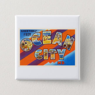 Ocean City Maryland MD Vintage Travel Postcard- Pinback Button