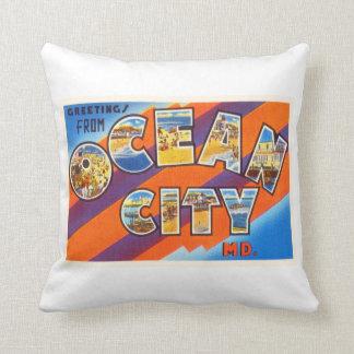 Ocean City Maryland MD Vintage Travel Postcard- Throw Pillow