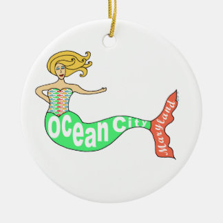 Ocean City, Maryland Mermaid Double-Sided Ceramic Round Christmas Ornament