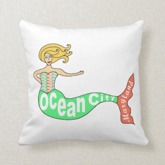 Ocean City, Maryland Mermaid Throw Pillow
