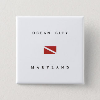 Ocean City Maryland Scuba Dive Flag Pinback Button