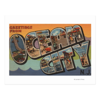 Ocean City New Jersey - Large Letter Scenes Postcards