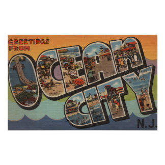 Ocean City, New Jersey - Large Letter Scenes Poster