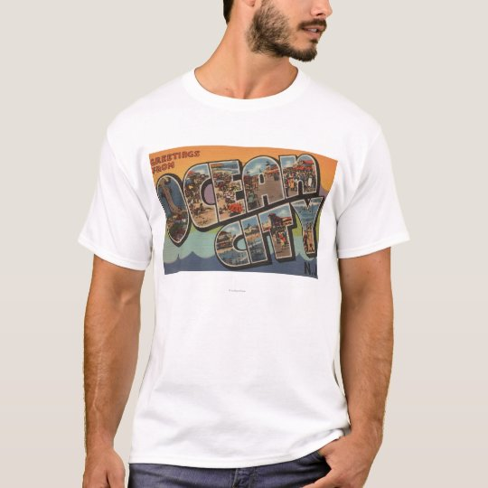 Ocean City, New Jersey - Large Letter Scenes T-Shirt