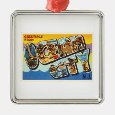 Ocean City New Jersey Nj Vintage Travel Postcard- Metal Ornament at Zazzle