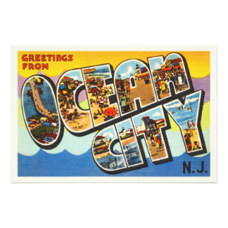 Ocean City New Jersey NJ Vintage Travel Postcard- Photo Print