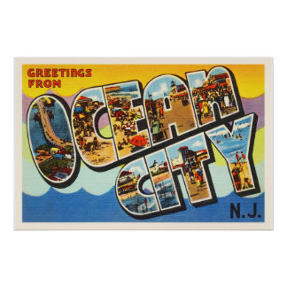 Ocean City New Jersey NJ Vintage Travel Postcard- Poster