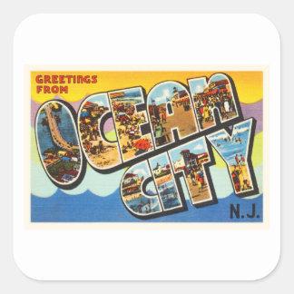 Ocean City New Jersey NJ Vintage Travel Postcard- Square Sticker