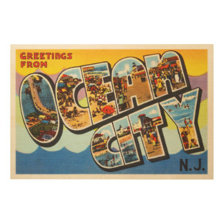 Ocean City New Jersey NJ Vintage Travel Postcard- Wood Wall Art