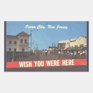 Ocean City, New Jersey, Vintage Rectangular Sticker