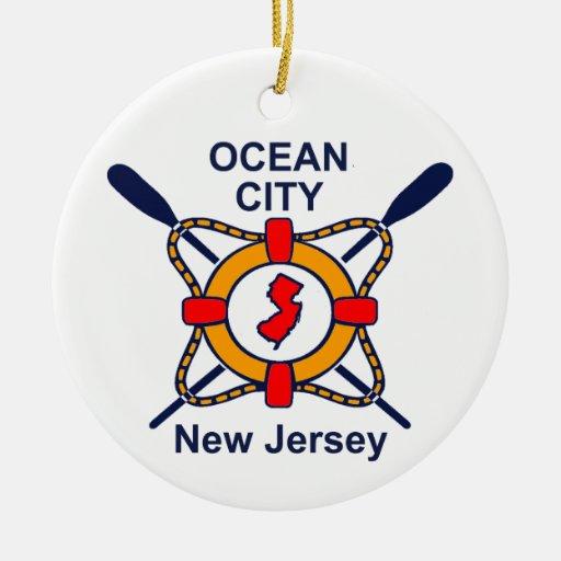 Ocean City NJ Double-Sided Ceramic Round Christmas Ornament