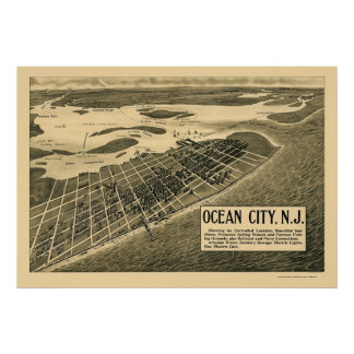 Ocean City, NJ Panoramic Map - 1903 Poster