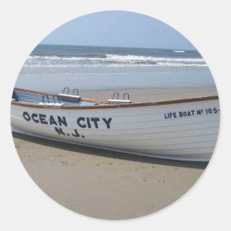 Ocean City, NJ * Summer Fun * Shore Boat Classic Round Sticker