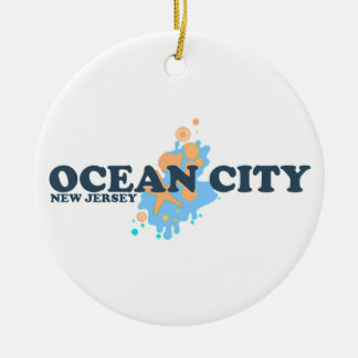 Ocean City. Double-Sided Ceramic Round Christmas Ornament