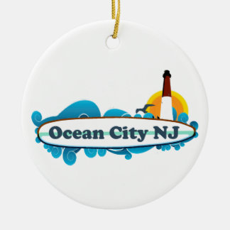 Ocean City Double-Sided Ceramic Round Christmas Ornament