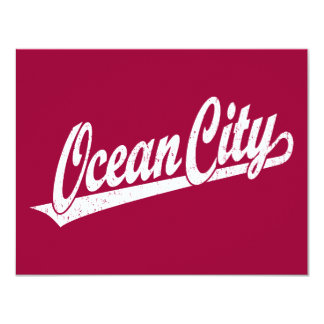 Ocean City script logo in white distressed Card