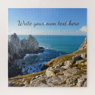 Ocean Cliffs Nature Landscape With Any Text Jigsaw Puzzle