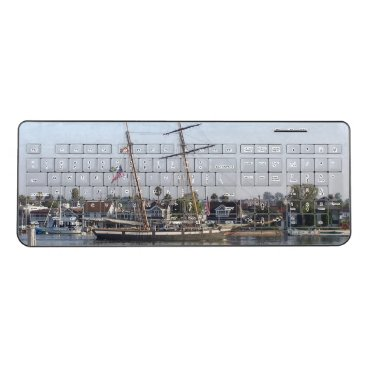 Ocean Clipper Ship Beach Town Wireless Keyboard