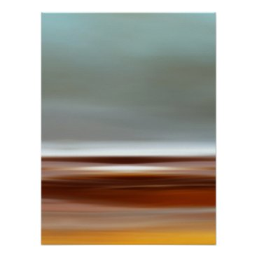 Beach Themed Ocean Coast Beach Sky Landscape Blue Brown Gray Poster