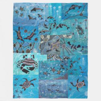 Ocean Collage Aboriginal Fleece Blanket